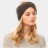 Solid Twisted Soft Knit Earmuff Headband