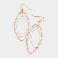 Double Oval Metal Dangle Earrings