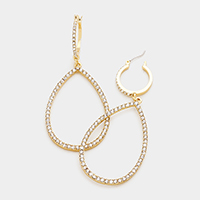 Rhinestone Teardrop Hoop Pin Catch Earrings
