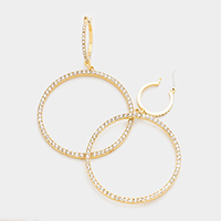 Rhinestone Hoop Pin Catch Earrings