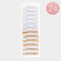 24 PCS Rhinestone Trim Pearl Accented Bobby Pins
