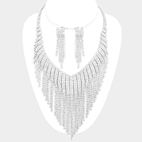 Pave Crystal Rhinestone Fringe Necklace