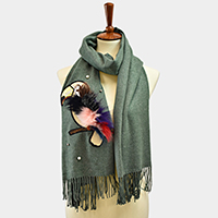 Pearl Parrot Feather Patch Fringe Tassel Scarf