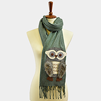 Owl Feather Patch Fringe Tassel Scarf