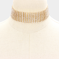 Marquise Crystal Rhinestone Evening Choker Necklace