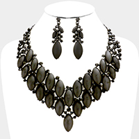 Marquise Oval Cloudy Stone Cluster Evening Necklace