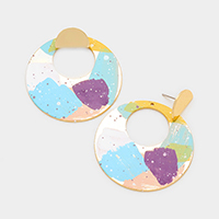 Multi Color Painted Cut Out Metal Disc Earrings