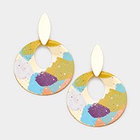 Multi Color Painted Cut Out Wavy Metal Disc Earrings