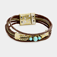 Layered Metal Arrow Turquoise Magnetic Bracelet