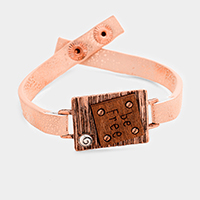 Be Free Wood Leather Snap Button Bracelet