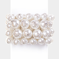 Layered Pearl Stack Stretch Bracelet