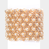 Metal Chain Pearl Strand Stretch Bracelet