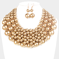Multi Sized Pearl Collar Necklace