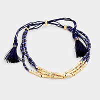 3 Layers Beaded Double Tassel Stretch Bracelet