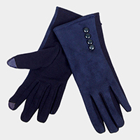 Thermal Button Detail Touch Gloves