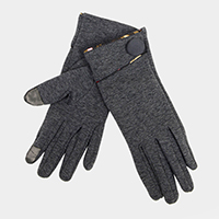Thermal Edge Button Accented Touch Gloves