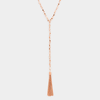 Metal Beaded Drop Chain Tassel Y Shaped Necklace