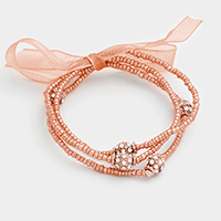 3 Layers Beaded Fireball Accented Ribbon Stretch Bracelet