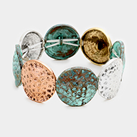 Bubble Textured Metal Disc Stretch Bracelet