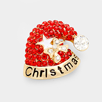 Stone Christmas Santa Hat Pin Brooch