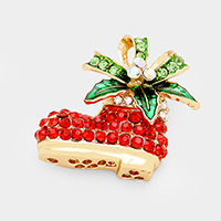 Stone Christmas Santa Shoe Pin Brooch