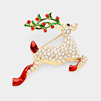 Stone Christmas Rudolph Shoe Pin Brooch