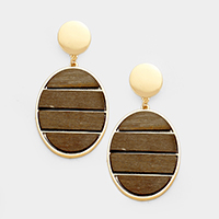 Metal Disc Wood Earrings