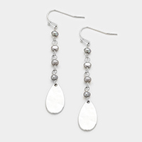Fresh Water Pearl Metal Teardrop Dangle Earrings