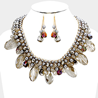 Weave Pearl Multi Bead Statement Necklace