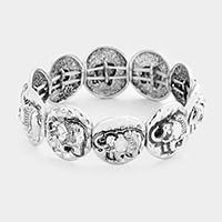 Embossed Metal Elephant Stretch Bracelet