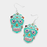 Enamel Skull Rhinestone Accented Dangle Earrings