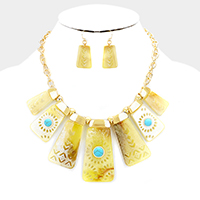 Boho Celluloid Bar Natural Stone Statement Necklace