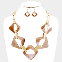 Cut Out Square Celluloid Link Statement Necklace