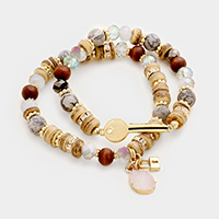 2 Layers Key Lock Wood Semi Precious Druzy Stretch Bracelet