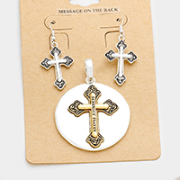 Serenity Prayer Cross Metal Disc Pendant Set