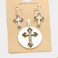 Lord's Prayer Cross Metal Disc Pendant Set