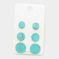 3 Pairs Natural Stone Disc Stud Earrings