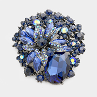 Flower Bubble Stone Cluster Pin Brooch