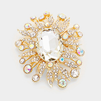 Oval Glass Rhinestone Leaf Cluster Pin Brooch