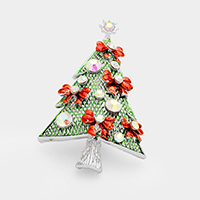 Stone Christmas Tree Bow Deco Pin Brooch