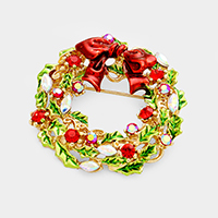 Stone Christmas Wreath Bow Pin Brooch
