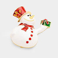 Rhinestone Snow Man Pin Brooch