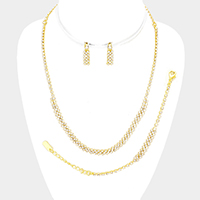 3 PCS Pave Crystal Rhinestone Marquise Necklace Set
