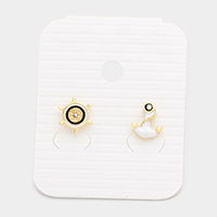 Anchor Ship Wheel Stud Earrings