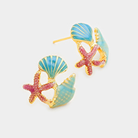 Enamel Starfish Shell Stud Earrings