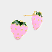 Enamel Strawberry Stud Earrings