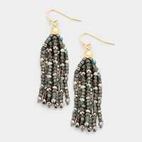 Metal Cube Beaded Tassel Earrings