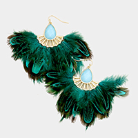 Semi Precious Stone Feather Fringe Earrings