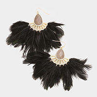Teardrop Semi Precious Stone Feather Fringe Earrings