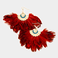 Oversized Feather Fringe Earrings